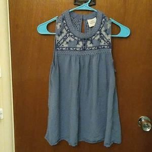Blue Embroidered Sleeveless Blouse